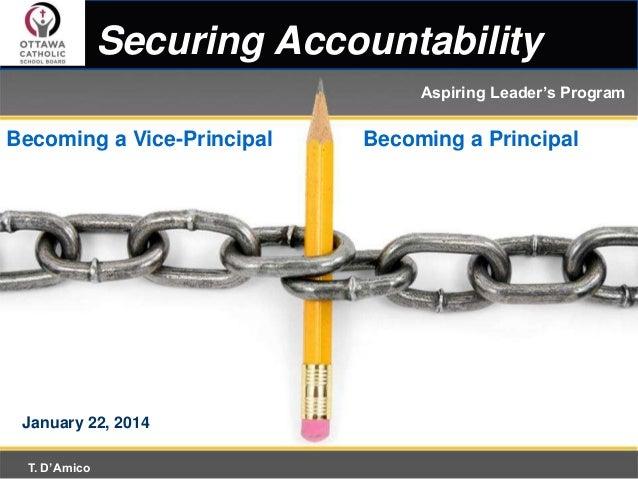 Securing Accountability Aspiring Leader's Program  Becoming a Vice-Principal  January 22, 2014 T. D'Amico  Becoming a Prin...