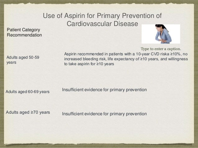 Use of Aspirin for Primary Prevention of Cardiovascular Disease Patient Category Recommendation Adults aged ≥70 years Adul...