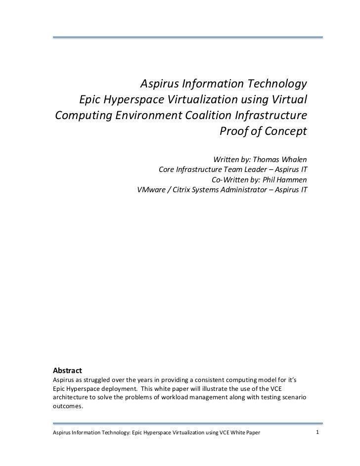 Aspirus Information Technology           Epic Hyperspace Virtualization ...