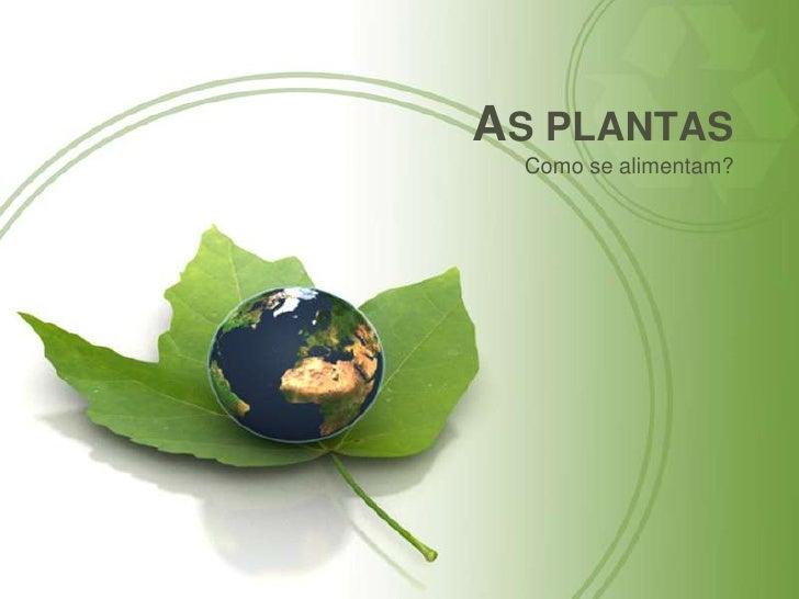 AS PLANTAS Como se alimentam?
