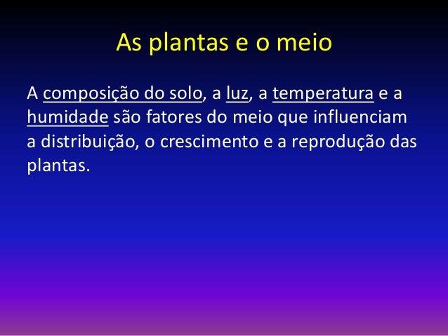 As plantas e o meio A composição do solo, a luz, a temperatura e a humidade são fatores do meio que influenciam a distribu...