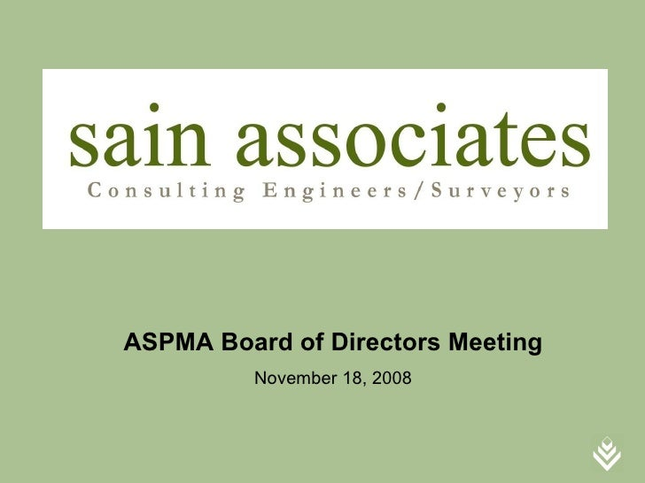 ASPMA Board of Directors Meeting         November 18, 2008