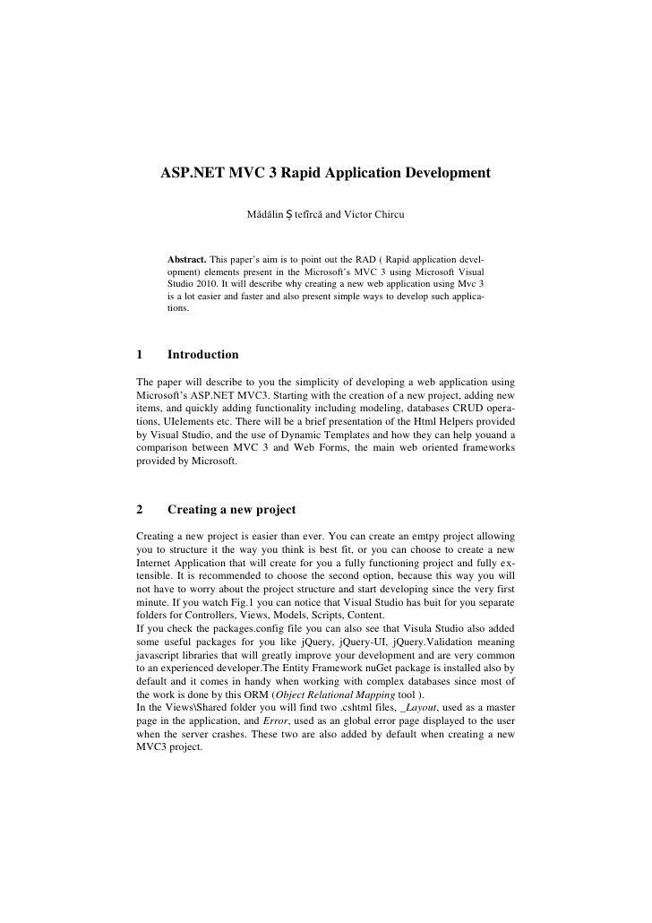 ASP.NET MVC 3 Rapid Application Development<br />Mădălin Ștefîrcă and Victor Chircu<br />Abstract. This paper's aim is to ...