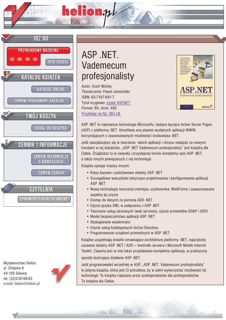 IDZ DO          PRZYK£ADOWY ROZDZIA£                                          ASP .NET.                            SPIS TR...