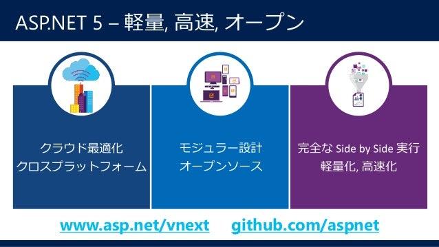 .NET オープンソース Projects • ASP.NET 5 • Entity Framework • .NET Core 5 • .NET Compiler Platform • Plus community projects Lice...