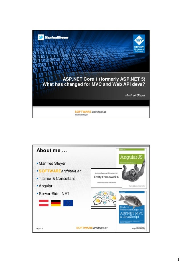 1 ASP.NET Core 1 (formerly ASP.NET 5) What has changed for MVC and Web API devs? Manfred Steyer ManfredSteyer About me … ...