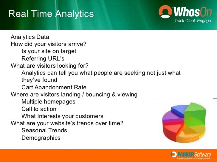 Real Time Analytics <ul><li>Analytics Data </li></ul><ul><li>How did your visitors arrive? </li></ul><ul><ul><li>Is your s...