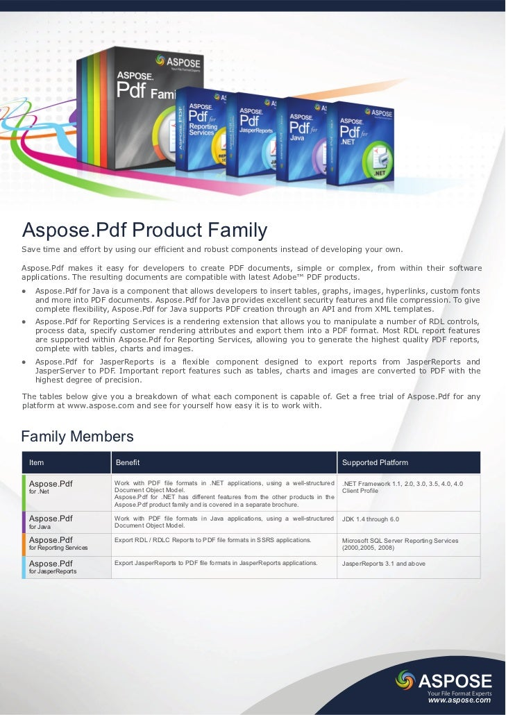 Aspose.Pdf Product FamilySave time and effort by using our efficient and robust components instead of developing your own....