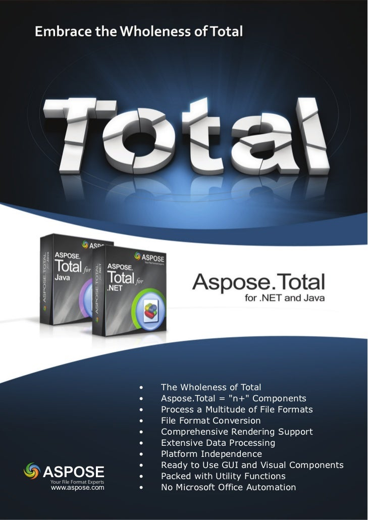 """•   The Wholeness of Total                           •   Aspose.Total = """"n+"""" Components                           •   Proc..."""
