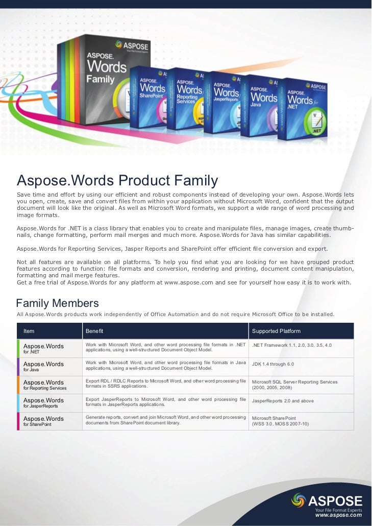 Aspose.Words Product FamilySave time and effort by using our efficient and robust components instead of developing your ow...