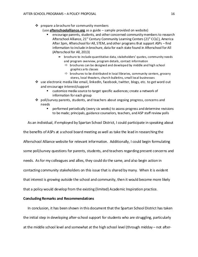 After School Programs   A Policy Proposal