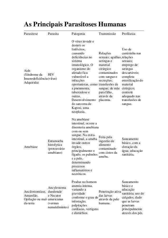 As Principais Parasitoses Humanas Parasitose Parasita Patogenia Transmissão Profilaxia Aids (Síndrome da Imunodeficiência ...