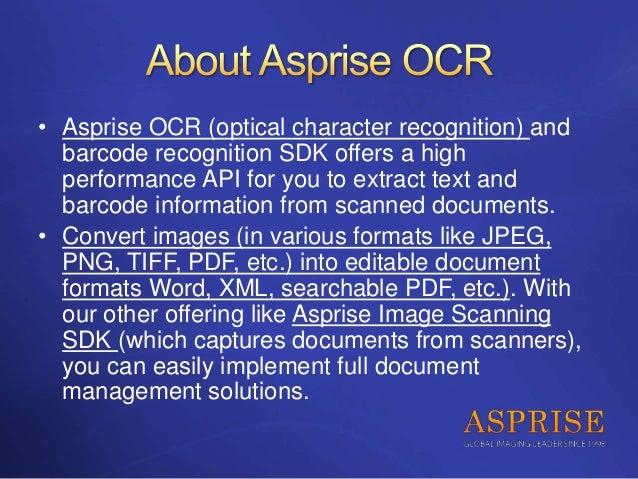 Asprise Java/C# VB NET OCR SDK - royalty-free API library with source…