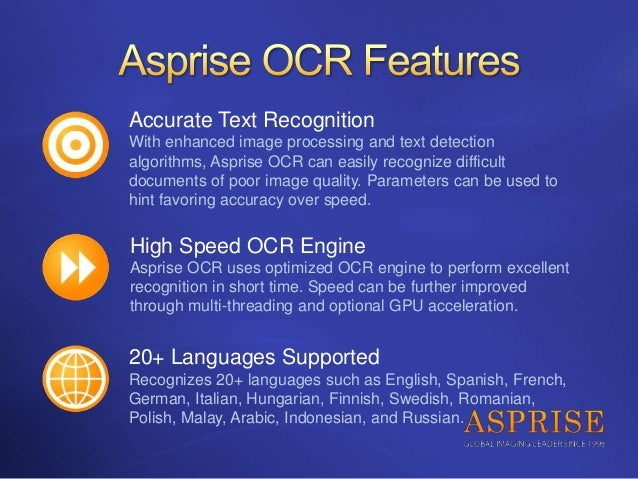 Asprise Java/C# VB NET OCR SDK - royalty-free API library