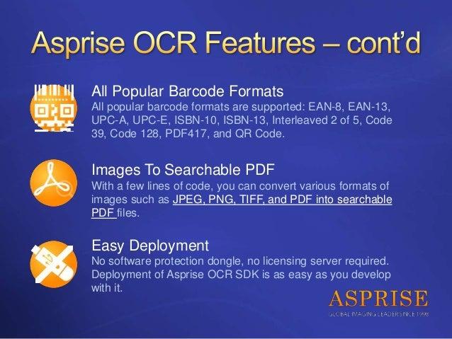 Asprise Java C Vb Net Ocr Sdk Royalty Free Api Library