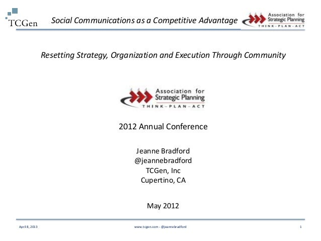 Social Communications as a Competitive Advantage                Resetting Strategy, Organization and Execution Through Com...