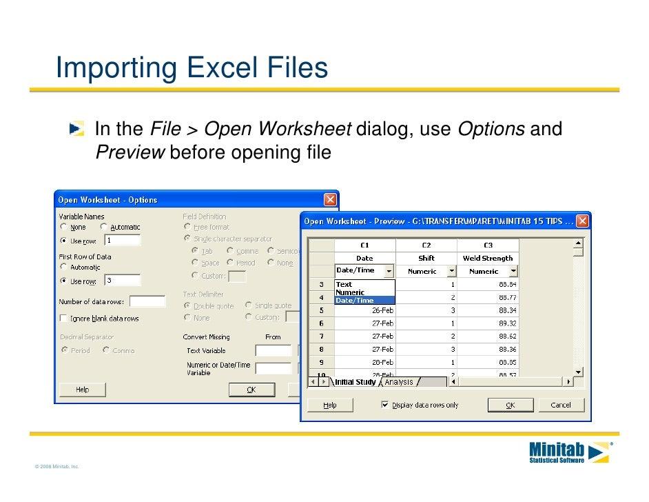 import pdf to minitab worksheet