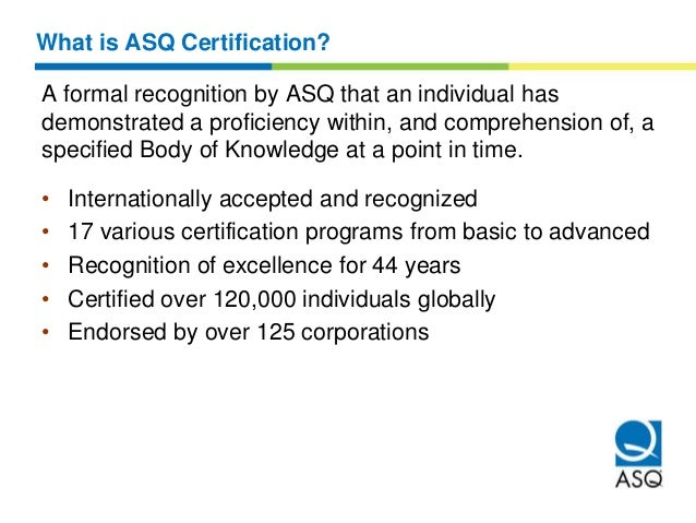 American Society for Quality (ASQ) certifications Overview