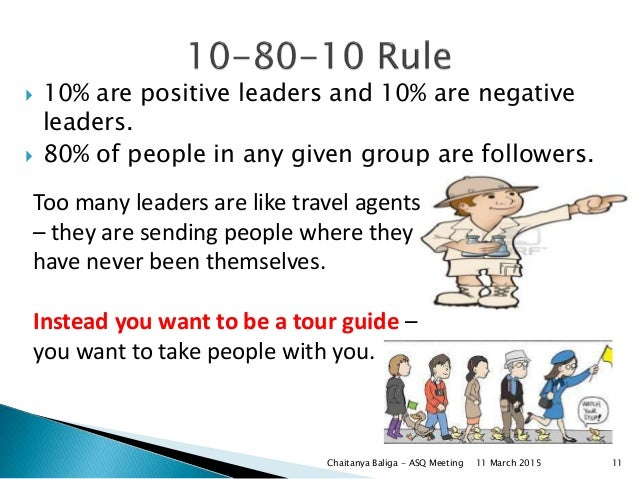  10% are positive leaders and 10% are negative leaders.  80% of people in any given group are followers. Too many leader...