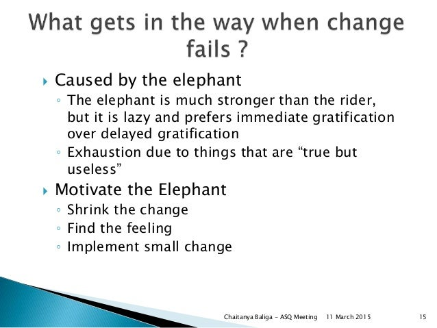  Caused by the elephant ◦ The elephant is much stronger than the rider, but it is lazy and prefers immediate gratificatio...