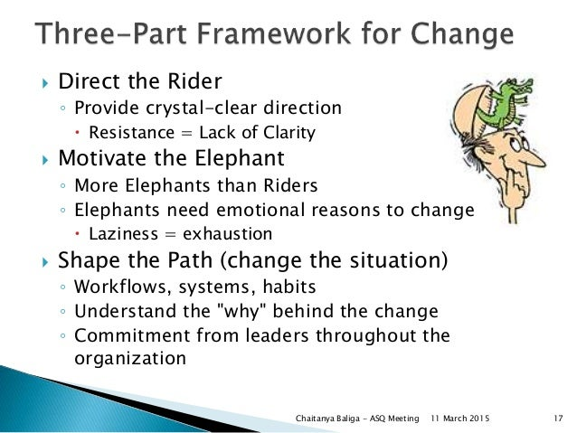  Direct the Rider ◦ Provide crystal-clear direction  Resistance = Lack of Clarity  Motivate the Elephant ◦ More Elephan...
