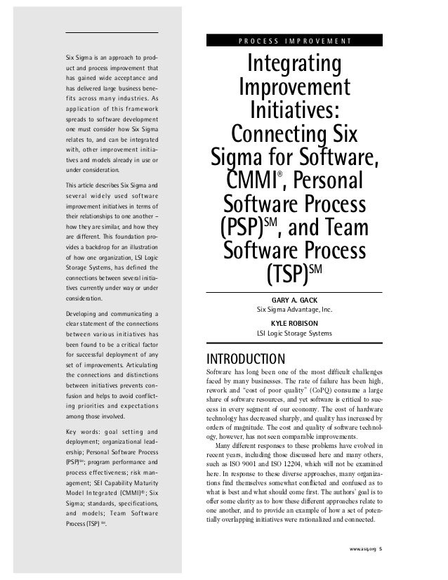 Six Sigma is an approach to prod- uct and process improvement that has gained wide acceptance and has delivered large busi...