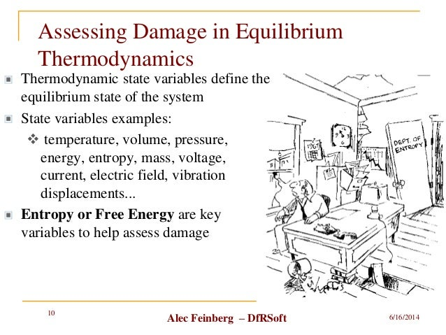 Alec Feinberg – DfRSoft Assessing Damage in Equilibrium Thermodynamics 6/16/2014 10 Thermodynamic state variables define t...