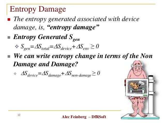 """Alec Feinberg – DfRSoft Entropy Damage  The entropy generated associated with device damage, is, """"entropy damage""""  Entro..."""