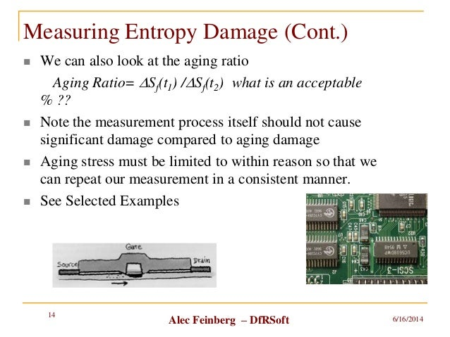 Alec Feinberg – DfRSoft Measuring Entropy Damage (Cont.)  We can also look at the aging ratio Aging Ratio= DSf(t1) /DSf(t...