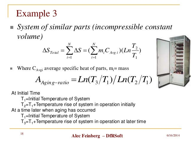 Alec Feinberg – DfRSoft Example 3  System of similar parts (incompressible constant volume)  Where CAvgi average specifi...