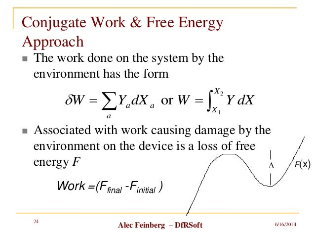 Alec Feinberg – DfRSoft Conjugate Work & Free Energy Approach  The work done on the system by the environment has the for...