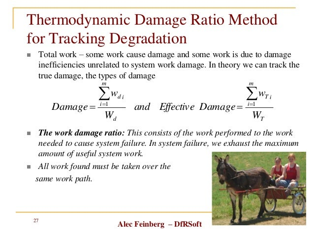 Alec Feinberg – DfRSoft Thermodynamic Damage Ratio Method for Tracking Degradation  Total work – some work cause damage a...