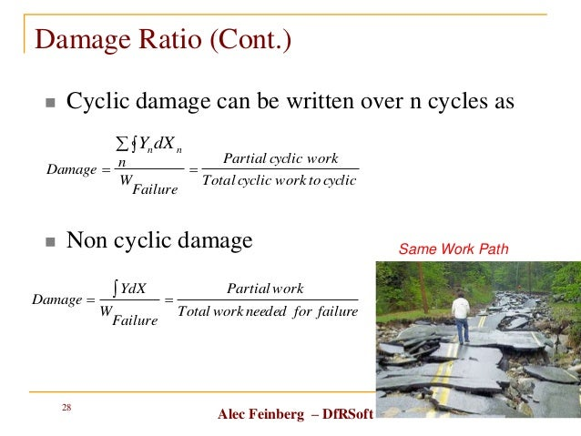 Alec Feinberg – DfRSoft Damage Ratio (Cont.)  Cyclic damage can be written over n cycles as  Non cyclic damage 6/16/2014...