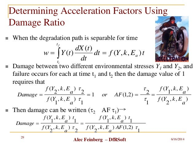 Alec Feinberg – DfRSoft Determining Acceleration Factors Using Damage Ratio  When the degradation path is separable for t...