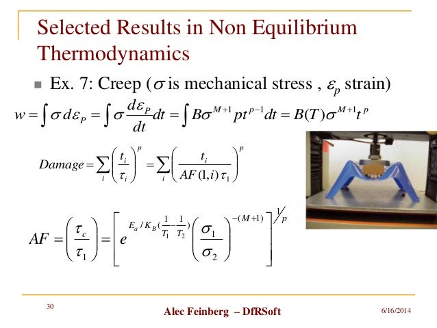 Alec Feinberg – DfRSoft Selected Results in Non Equilibrium Thermodynamics  Ex. 7: Creep (s is mechanical stress , ep str...