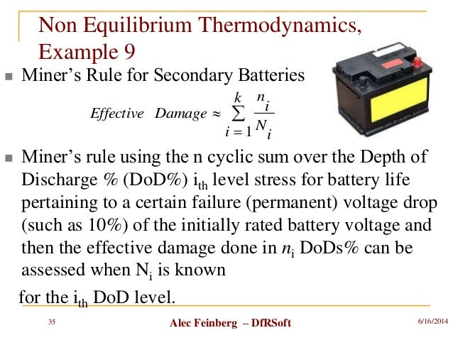 Alec Feinberg – DfRSoft  Miner's Rule for Secondary Batteries  Miner's rule using the n cyclic sum over the Depth of Dis...