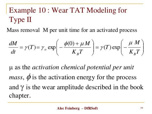 Alec Feinberg – DfRSoft Example 10 : Wear TAT Modeling for Type II 39                 TK M T TK M T ...