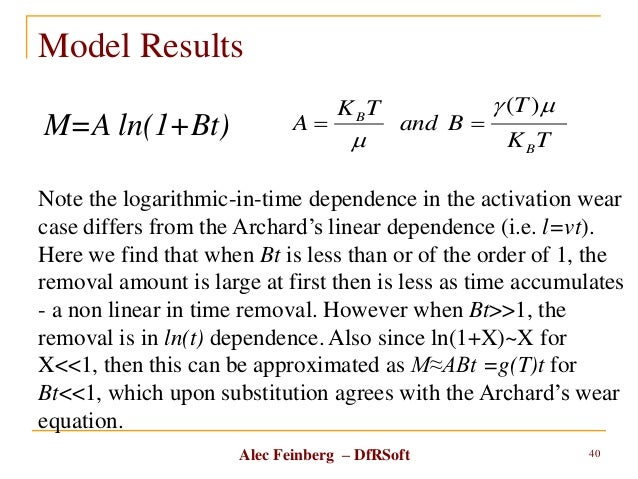 Alec Feinberg – DfRSoft Model Results 40 M=A ln(1+Bt) TK T Band TK A B B m m )(  Note the logarithmic-in-time dependenc...