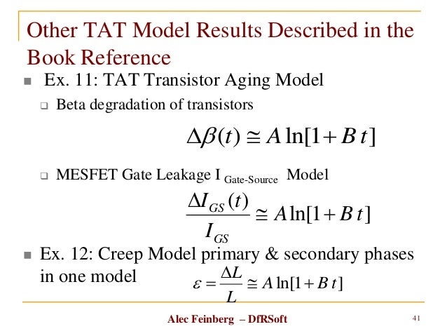 Alec Feinberg – DfRSoft Other TAT Model Results Described in the Book Reference  Ex. 11: TAT Transistor Aging Model  Bet...