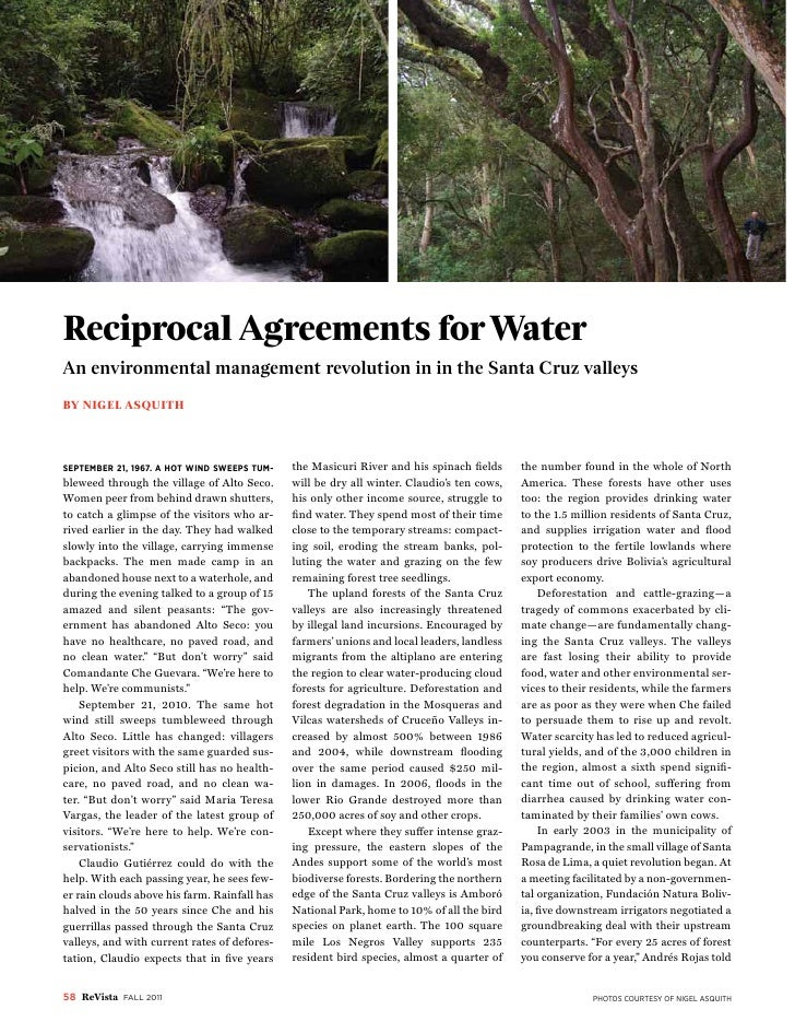 bolivia: revolutions and beyondReciprocal Agreements for WaterAn environmental management revolution in in the Santa Cruz ...