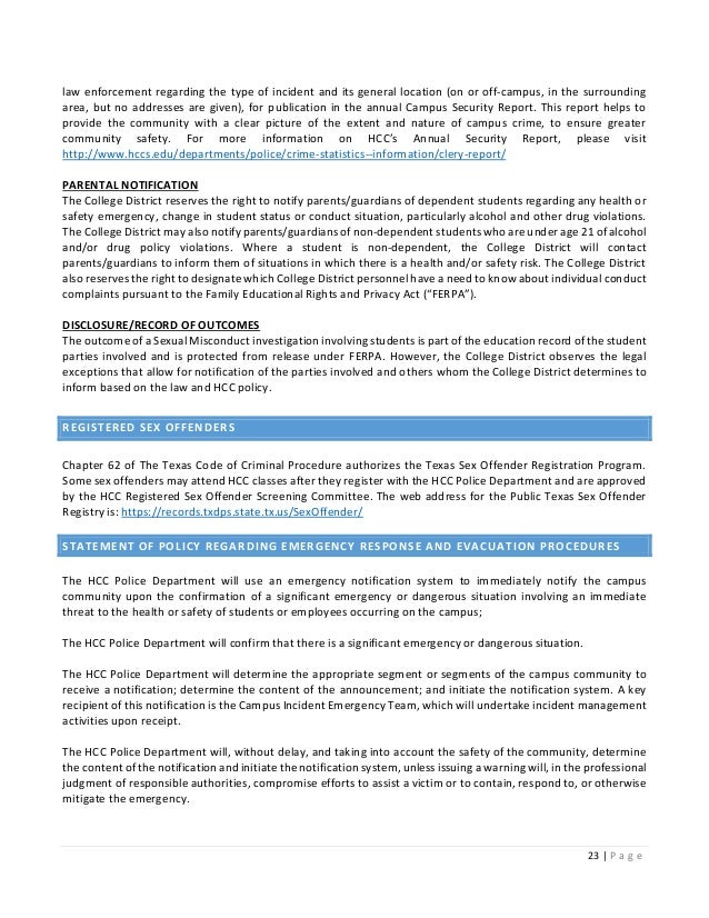 ferpa form hcc  8 HCC Annual Clery Security Report
