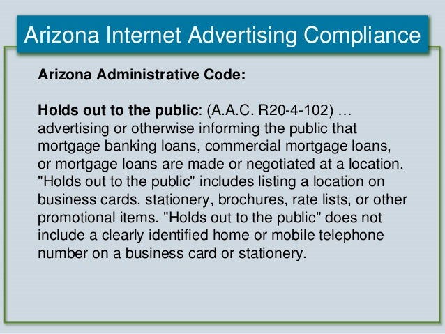 2012 Arizona Mortgage Lending Internet Advertising Compliance