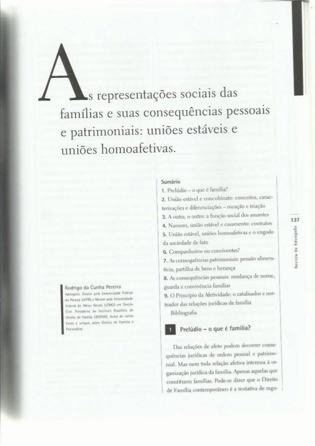 As representações sociais das famílias e suas consequências pessoais e patrimoniais