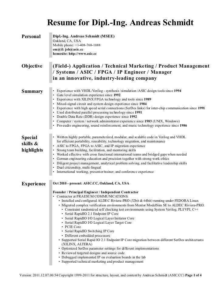 resume for dipl ing andreas schmidt personal dipl - Asic Resume Objective