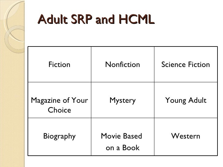 Adult SRP and HCML Fiction Nonfiction Science Fiction Magazine of Your Choice Mystery Young Adult Biography Movie Based  o...