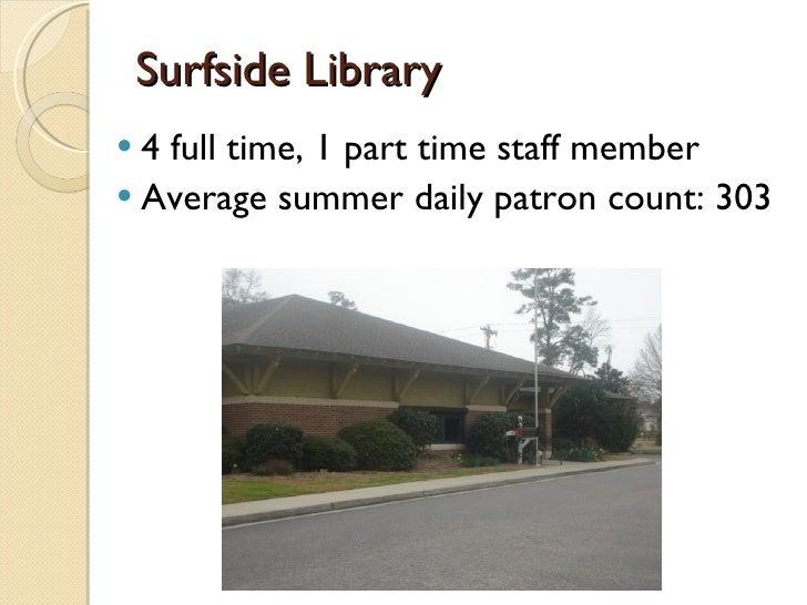 Surfside Library <ul><li>4 full time, 1 part time staff member </li></ul><ul><li>Average summer daily patron count: 303 </...