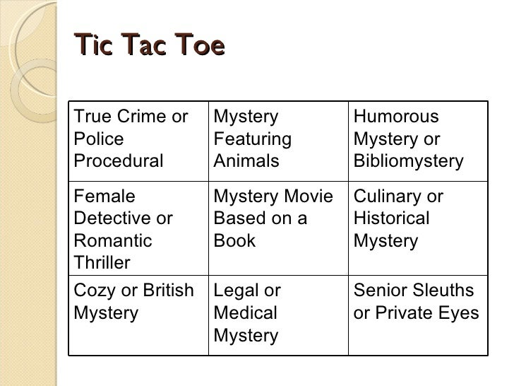 Tic Tac Toe True Crime or Police Procedural Mystery Featuring Animals Humorous Mystery or Bibliomystery Female Detective o...