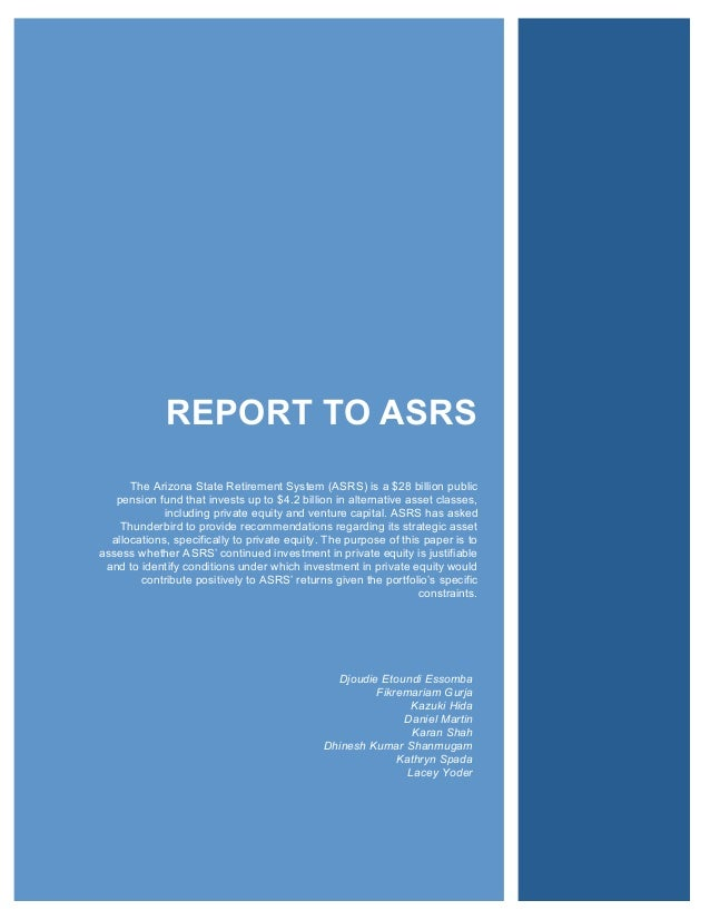 REPORT TO ASRS                                                                                 !!!!!!      The Arizona Sta...