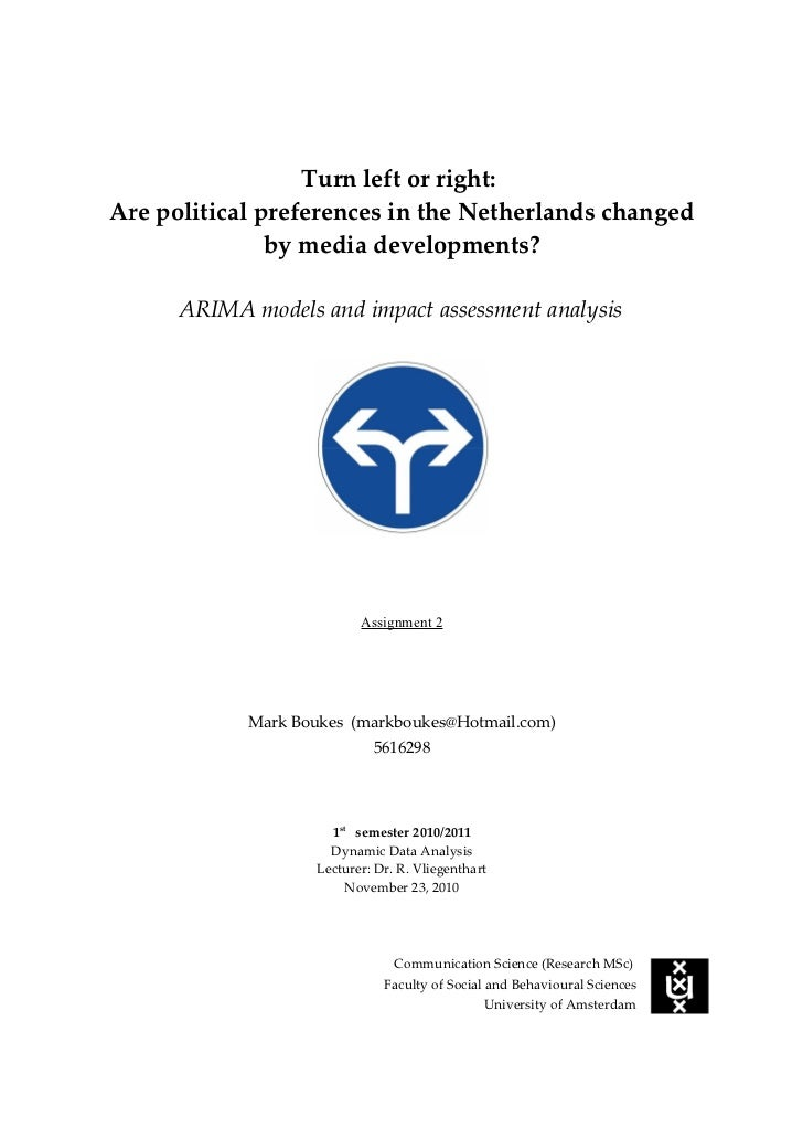 Turn left or right:Are political preferences in the Netherlands changed               by media developments?      ARIMA mo...