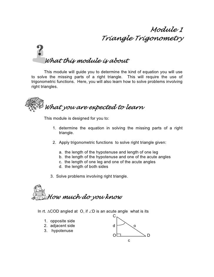 Module 1                                      Triangle Trigonometry         What this module is about          This module...